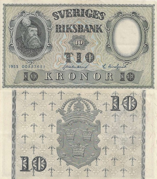 1953-1962 Issue - 10 Kronor