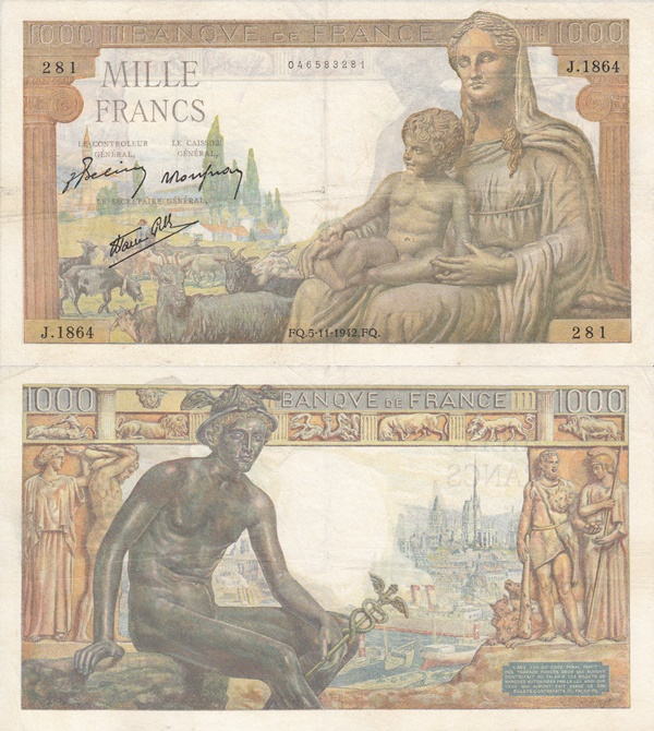 1942-1944 Issue - 1000 Francs