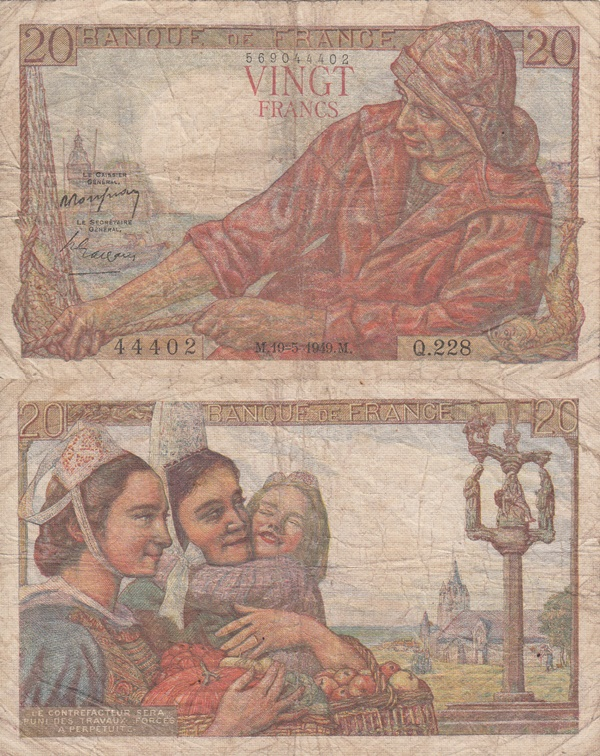 1942-1950 Issue - 20 Francs