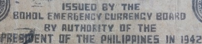1942 Emergency Issue - Bohol Emergency Currency Board