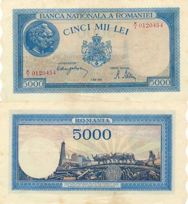 1943-1945 Issue - 5000 Lei