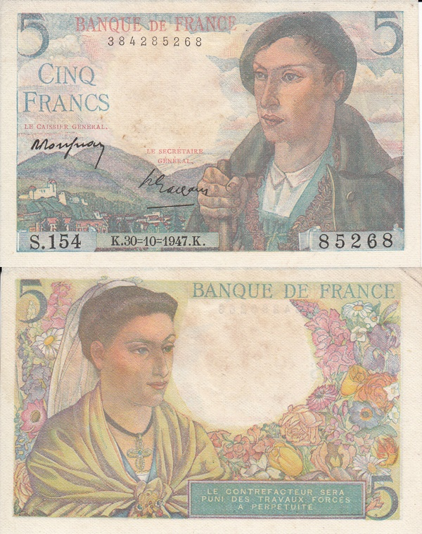 1943-1947 Issue - 5 Francs