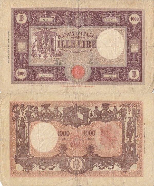 1943-1947 Issue - Banca d'Italia - 1000 Lire