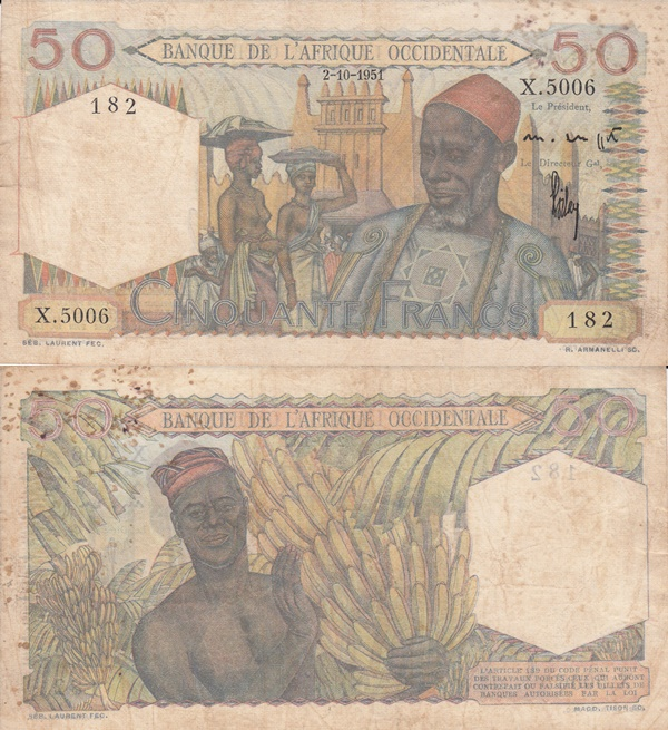 1944-1954 Issue - 50 Francs (Banque de l'Afrique Occidentale)