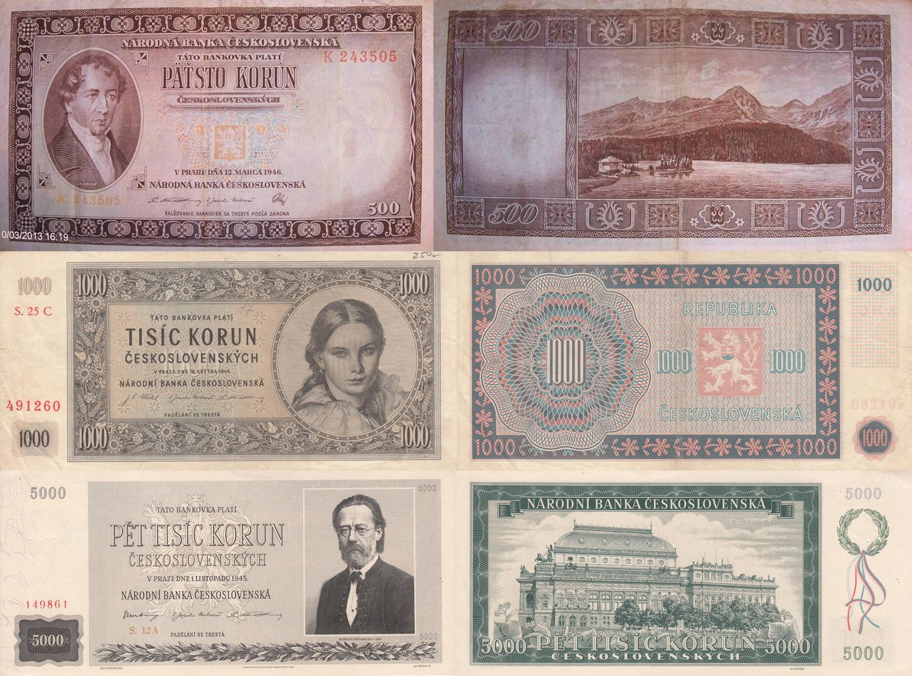 1945-1946 Issue -  (Narodni(a) Banka Ceskoslovenská)