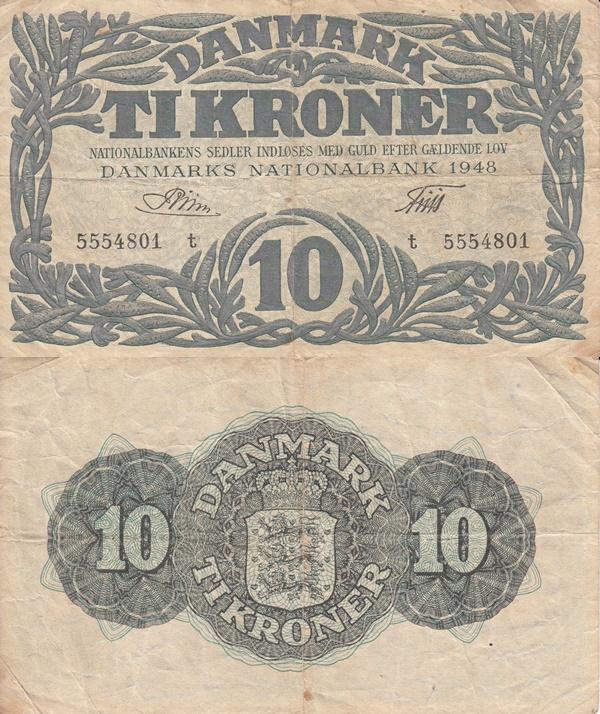 1945-1948 Issue - 10 Kroner