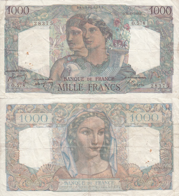 1945-1950 Issue - 1000 Francs