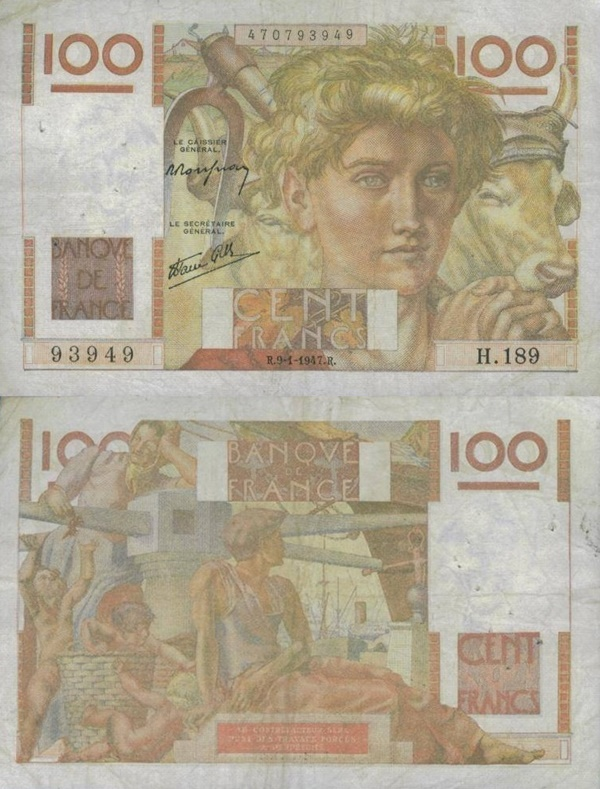 1945-1954 Issue - 100 Francs