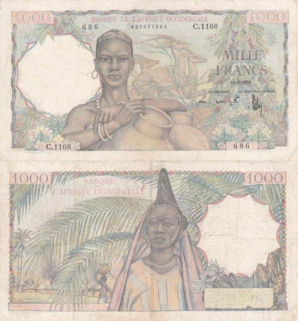 1945-1954 Issue - 1000 Francs (Banque de l'Afrique Occidentale)