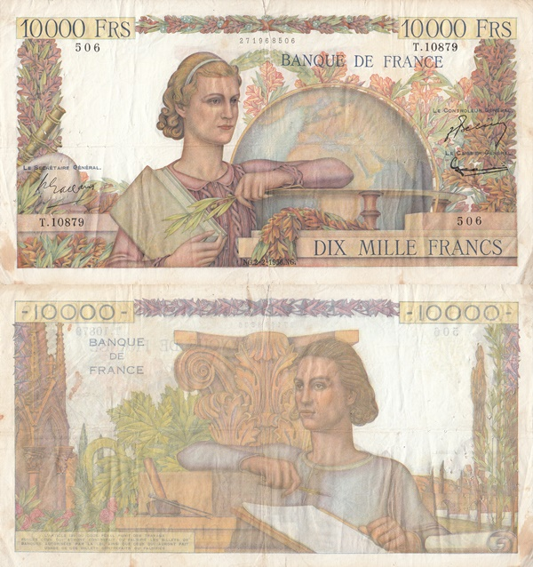 1945-1956 Issue - 10,000 Francs