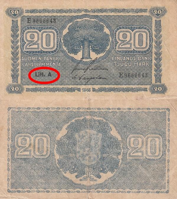 1945 dated issue (Litt. A) - 20 Markkaa / Mark
