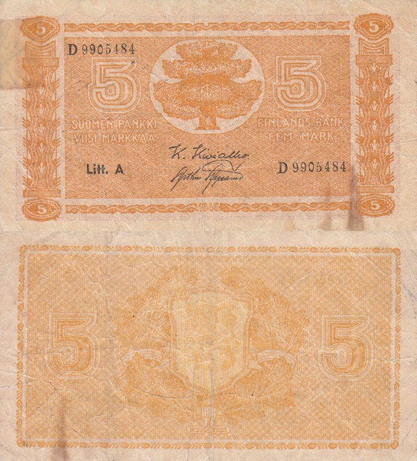 1945 dated issue, Litt. A - 5 Markkaa