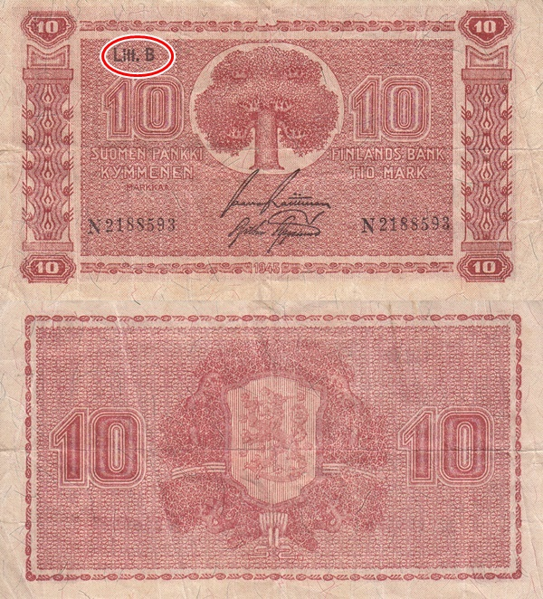 1945 dated issue (Litt. B) - 10 Markkaa / Mark