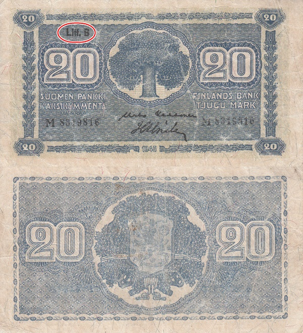 1945 dated issue (Litt. B) - 20 Markkaa / Mark