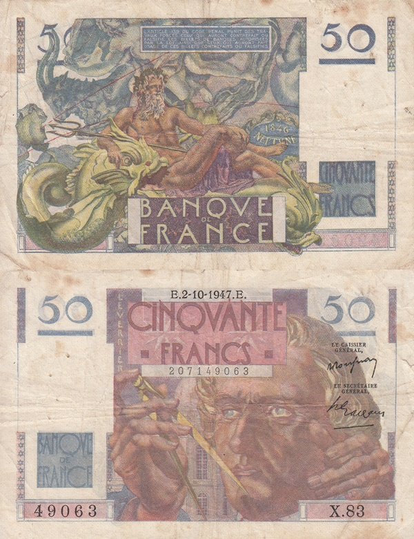 1946-1951 Issue - 50 Francs