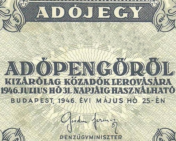 1946 First Issue - Adópengő (Tax Pengő) System