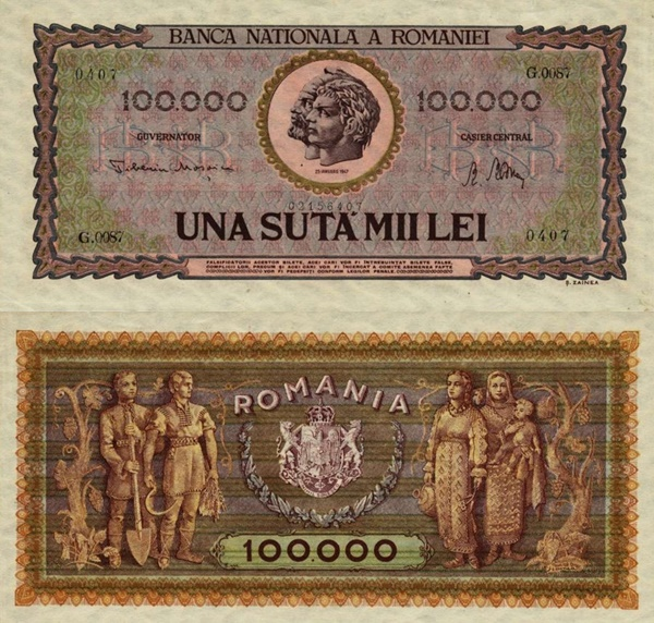 1947 Issue - 100,000 Lei