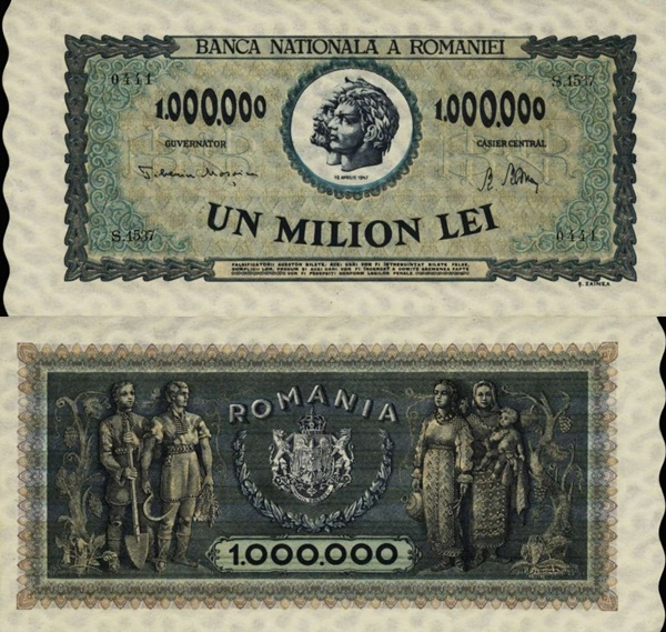 1947 Issue - 1,000,000 Lei