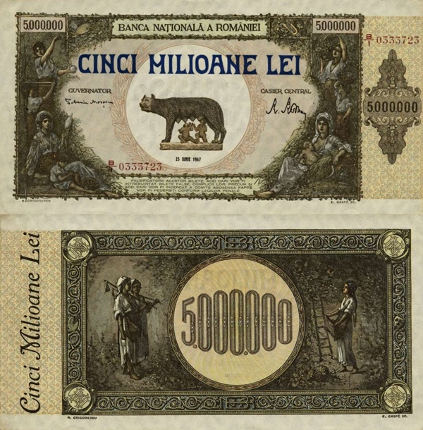 1947 Issue - 5,000,000 Lei