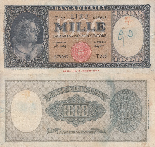 1947, 1948, 1949,  1959, 1961 Issue - 1000 Lire