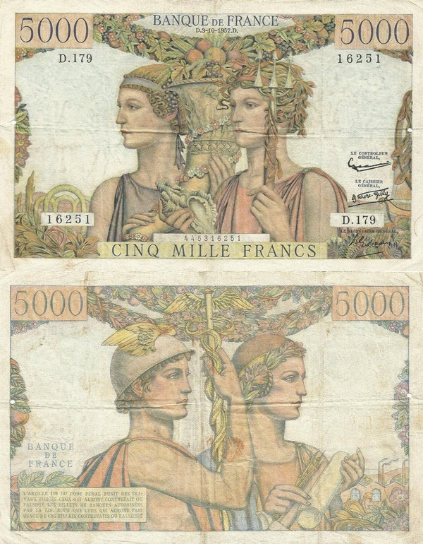 1949-1957 Issue - 5000 Francs