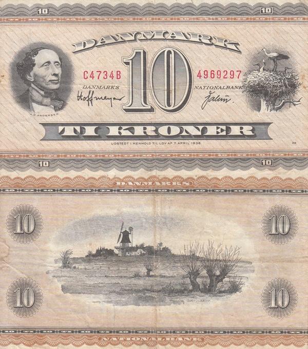1950-1952; 1954-1974 Issue - 10 Kroner
