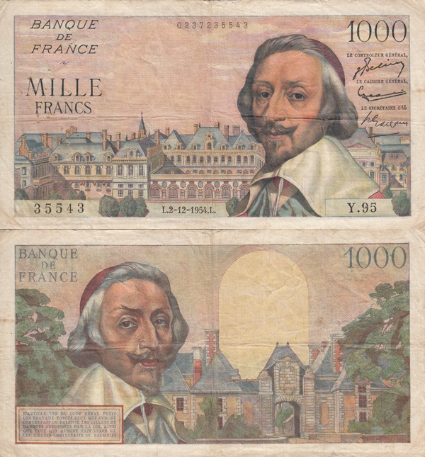 1953-1957 Issue - 1000 Francs