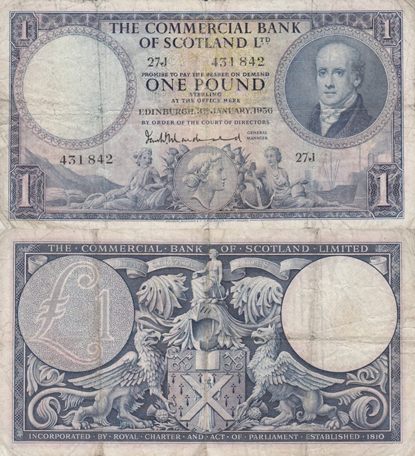1954-1958 Issue - 1 Pound (Commercial Bank of Scotland Ltd.)