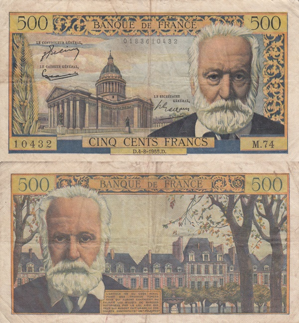 1954-1958 Issue - 500 Francs