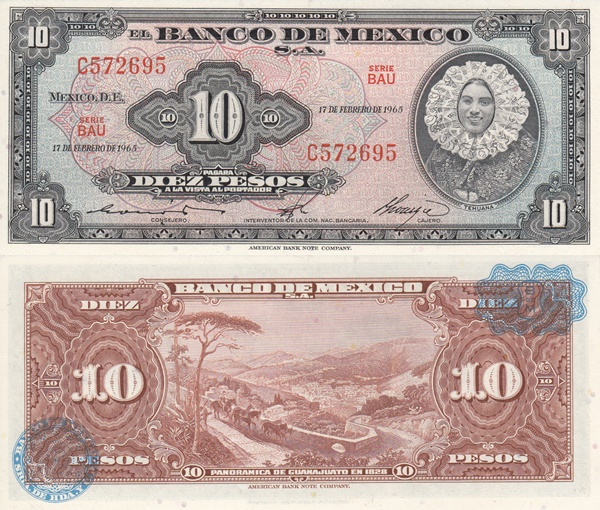 1954-1967 Issue - 10 Pesos