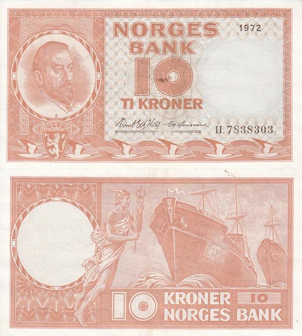 1954-1973 Issue - 10 Kroner