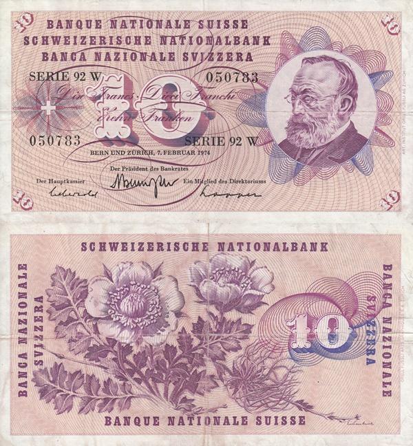 1954-1977 Issue (10 Franken)