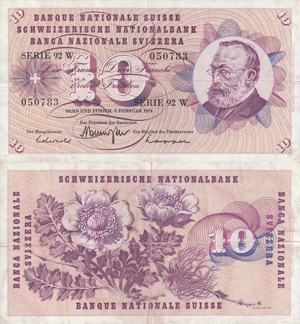 Emisiunea 1954-1977 (10 Franken)
