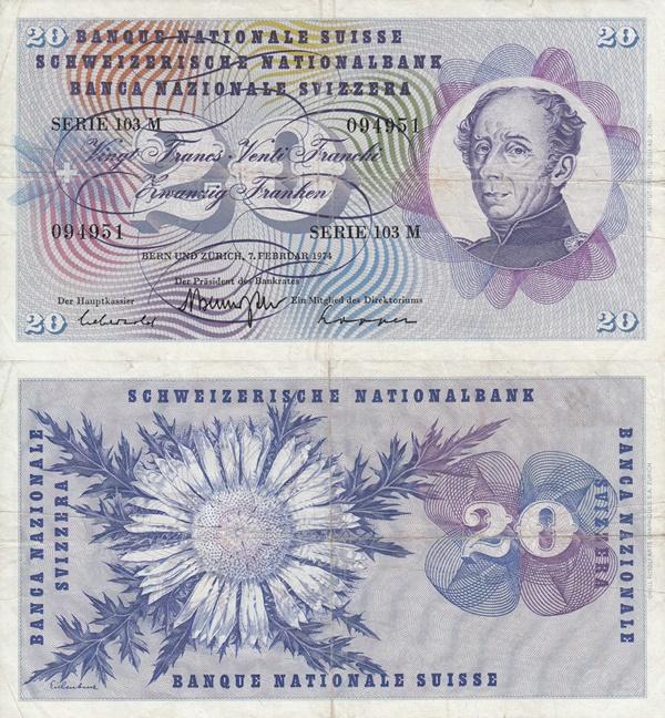 Emisiunea 1954-1977 (20 Franken)