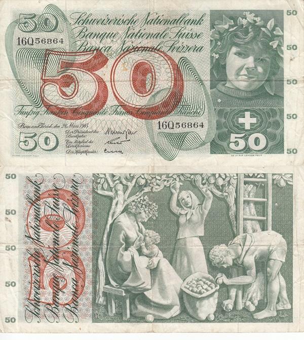 1954-1977 Issue (50 Franken)