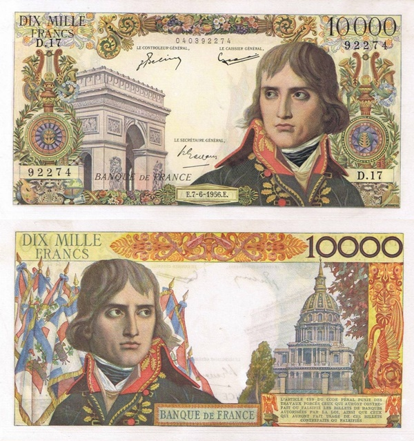1955-1958 Issue - 10 000 Francs