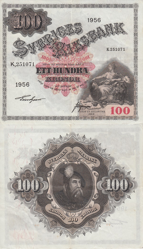 1955-1959 Issue - 100 Kronor