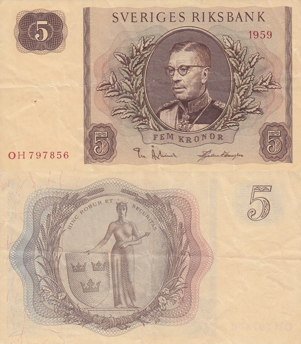 1954-1963 Issues - 5 Kronor