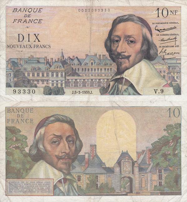 1959-1963 Issue - 10 Nouveaux Francs