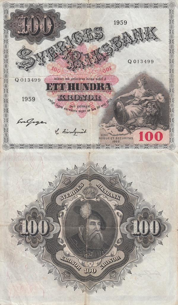 Emisiunea 1959-1963 - 100 Coroane