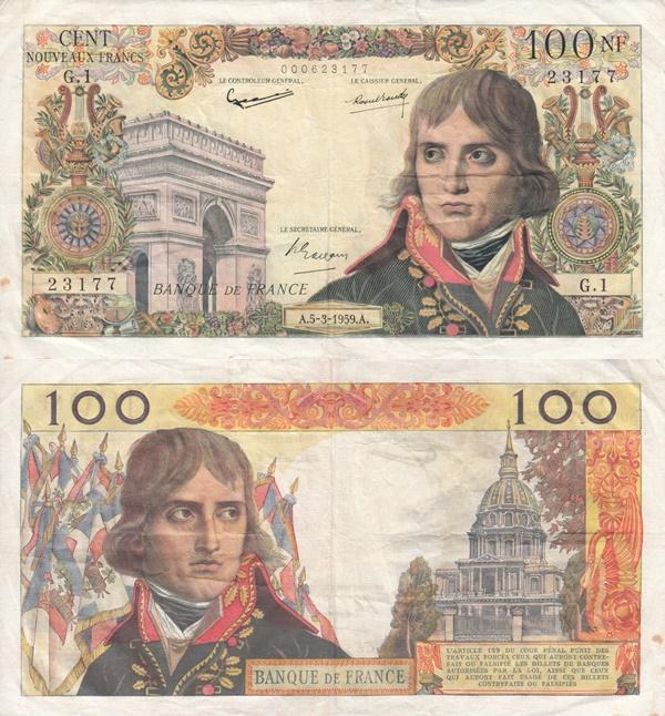 1959-1964 Issue - 100 Nouveaux Francs
