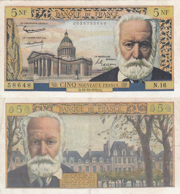 1959-1966 Issue - 5 Nouveaux Francs