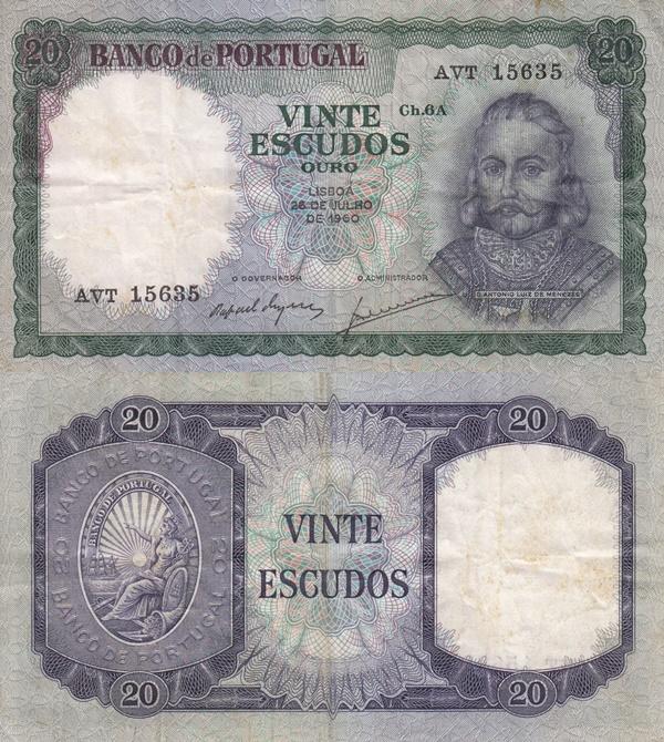 1960-1961 Issue - 20 Escudos