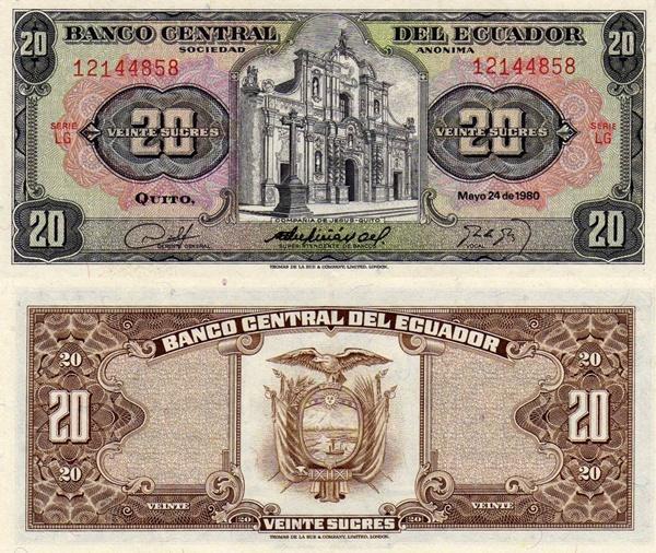 1961-1962; 1978; 1980; 1983 Issue - 20 Sucres