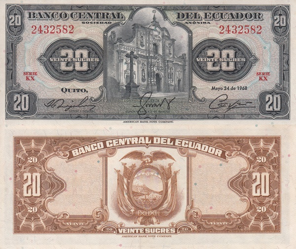 1962-1973 Issue - 20 Sucres