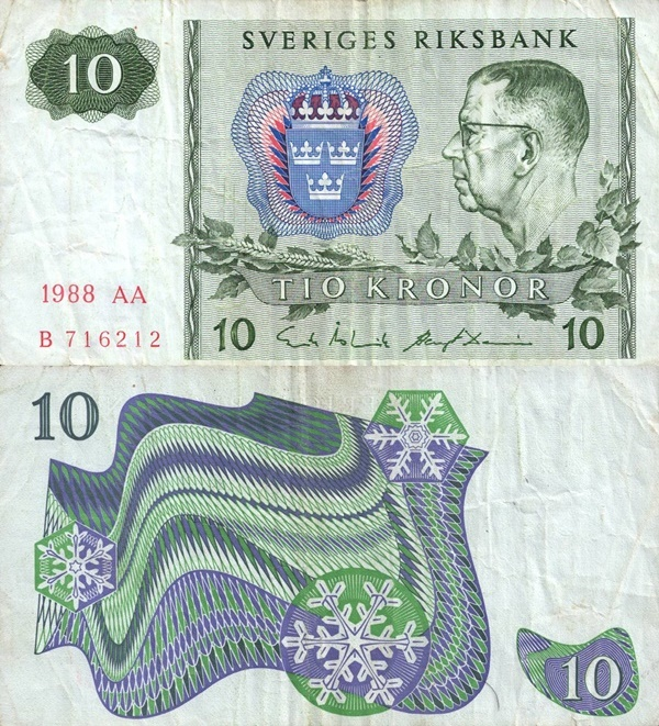 1963-1990 Issue - 10 Kronor