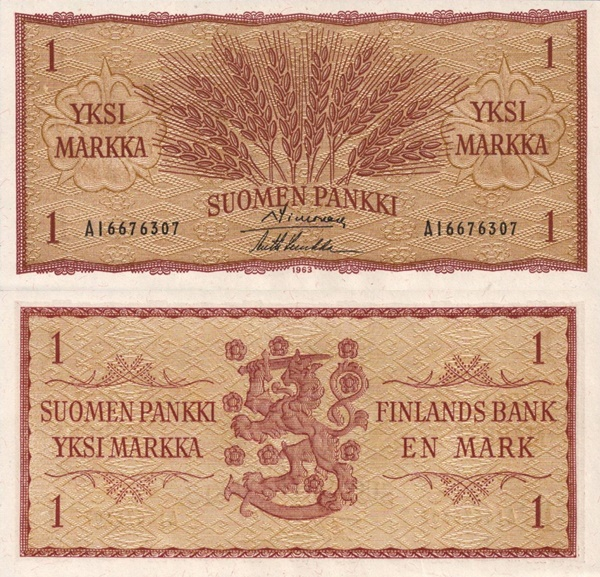 1963 Issue - 1 Markka