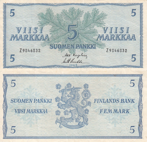 1963 Issue - 5 Markkaa/ Mark