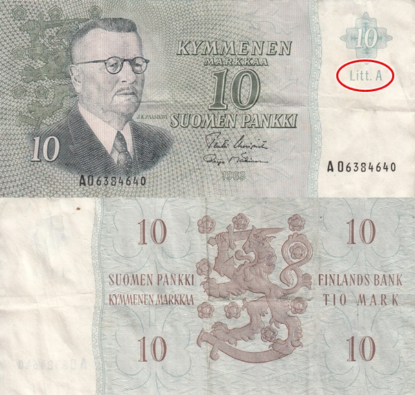 1963 Issue - 10 Markkaa/ Mark (Litt. A)