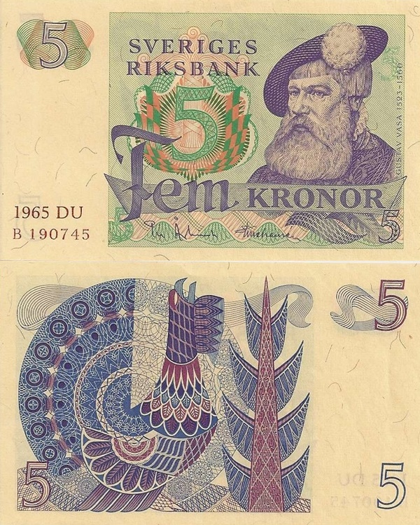1965-1981 Issue - 5 Kronor